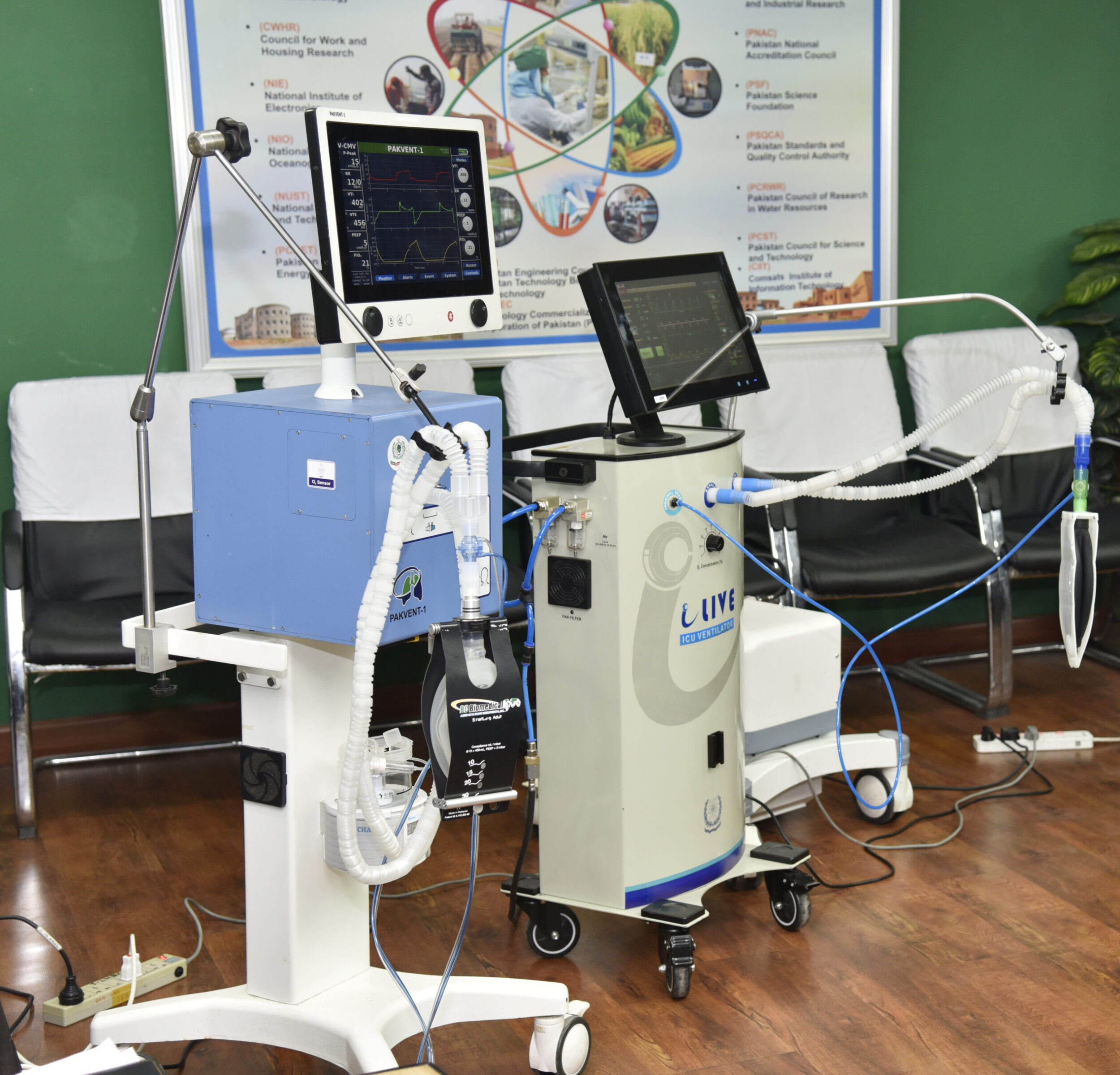 Figure 2: PakVent1 by PMO and i-live ventilator by PAEC, successfully went through the endurance tests against Acceptance Test Procedures(ATP) at PITC, PEC.