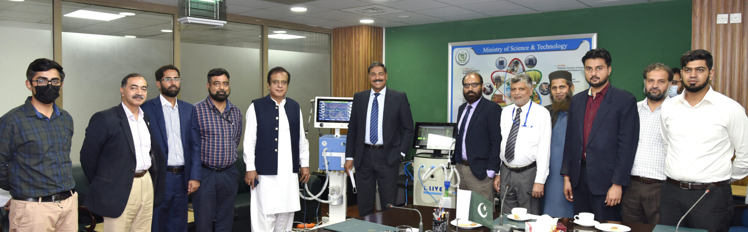 Figure 3: PITC Team and PAEC Team with Shibli Faraz, Federal Minister for Science and Technology at MoST office.